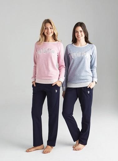 U.S. Polo Assn. Yuvarlak Yaka Pijama Takım Mavi